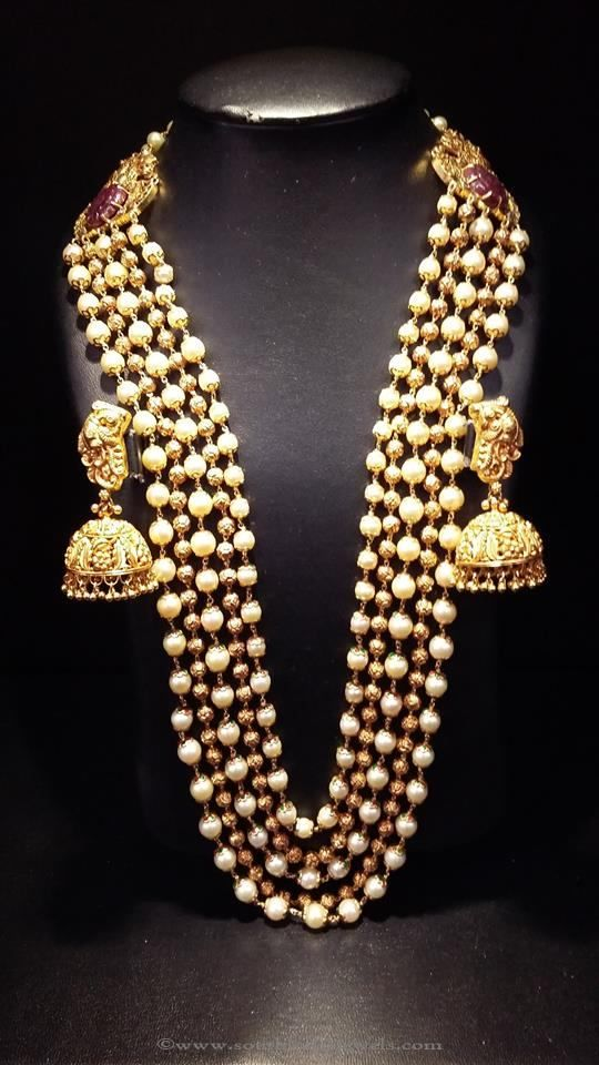 563d69d7bf460 Gold Multi Layer Pearl Haram with Jhumkas   Jewelry   Jewelry ...