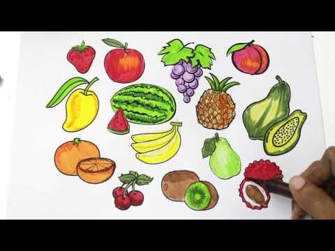 How To Draw Fruits And Vegetables And Coloring Dresses For Kids