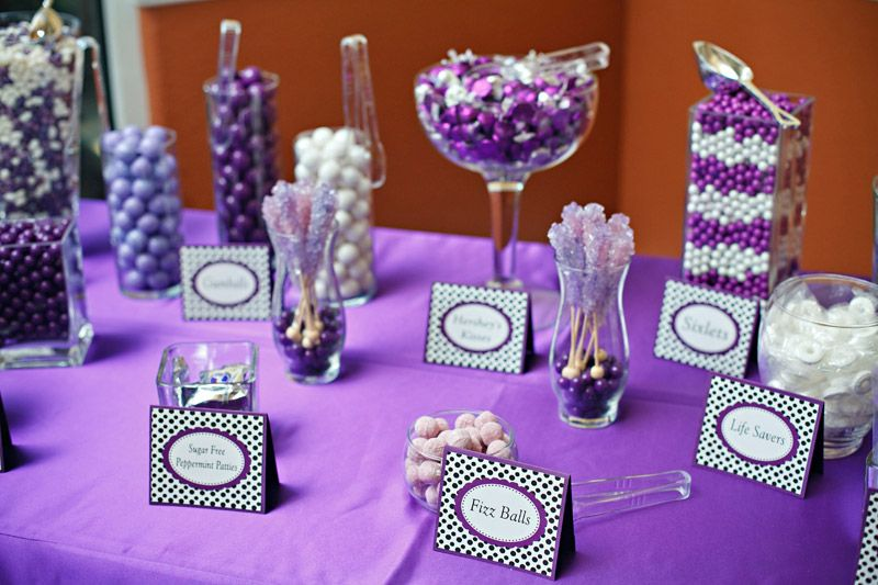 purple candy table and labels love this my dream wedding rh pinterest com