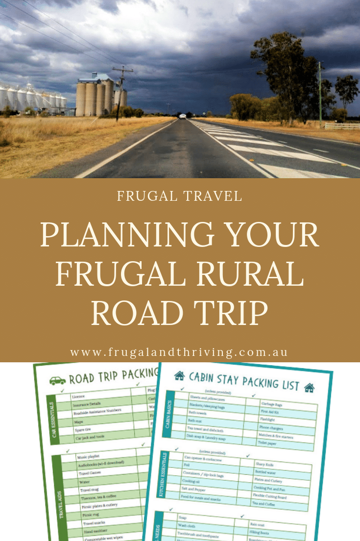 Save money on your next holiday by taking a rural road trip. Explore more of the country with this budget holiday option. Free printable packing lists so you don't forget anything and tips for driving on rural roads. #budgetholiday #budgetvacation