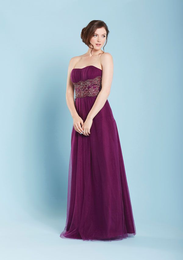 TRINITY - Strapless embroidered tulle gown - (Shown here in Eggplant ...