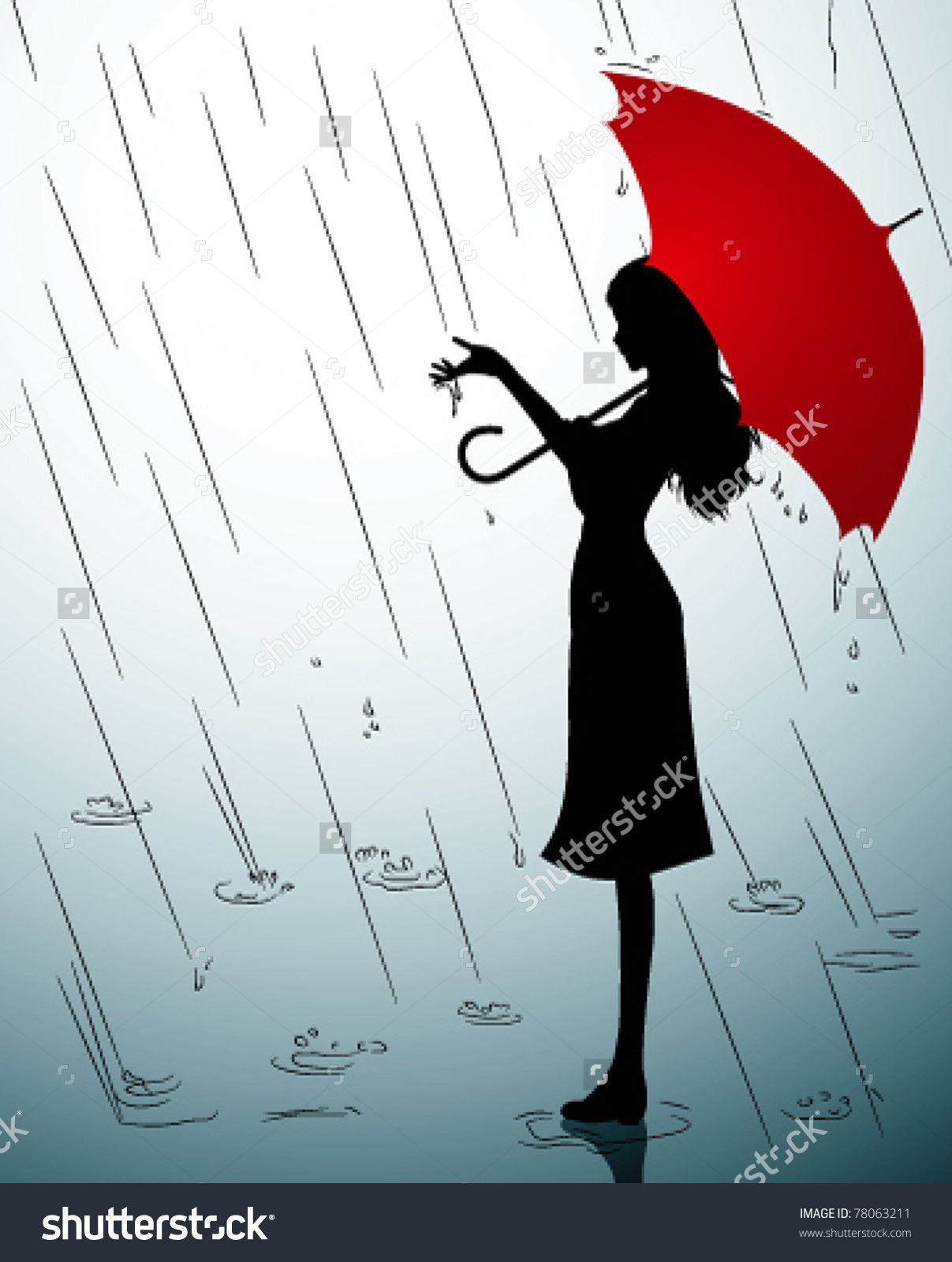 Drawing of a girl in the rain with an umbrella google search