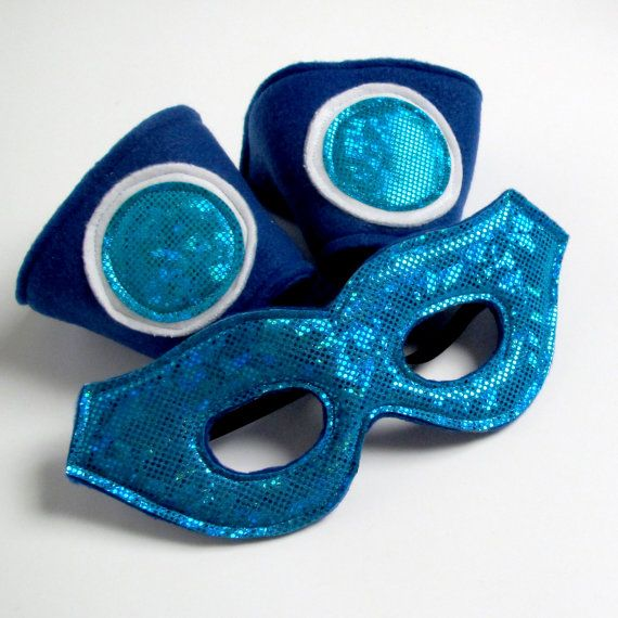 Super Hero Mask and Cuff Set  Blue and Turquoise by worldofwhimm, $15.00