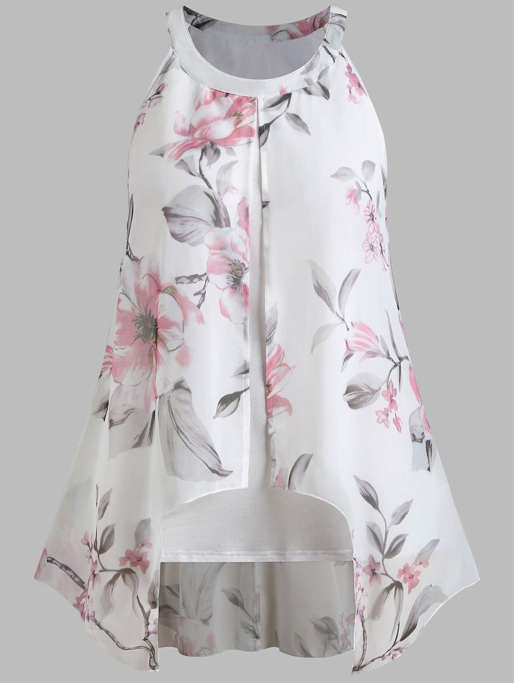 f4c30dc3002 Plus Size Flower Sleeveless Chiffon Blouse - WHITE 1X