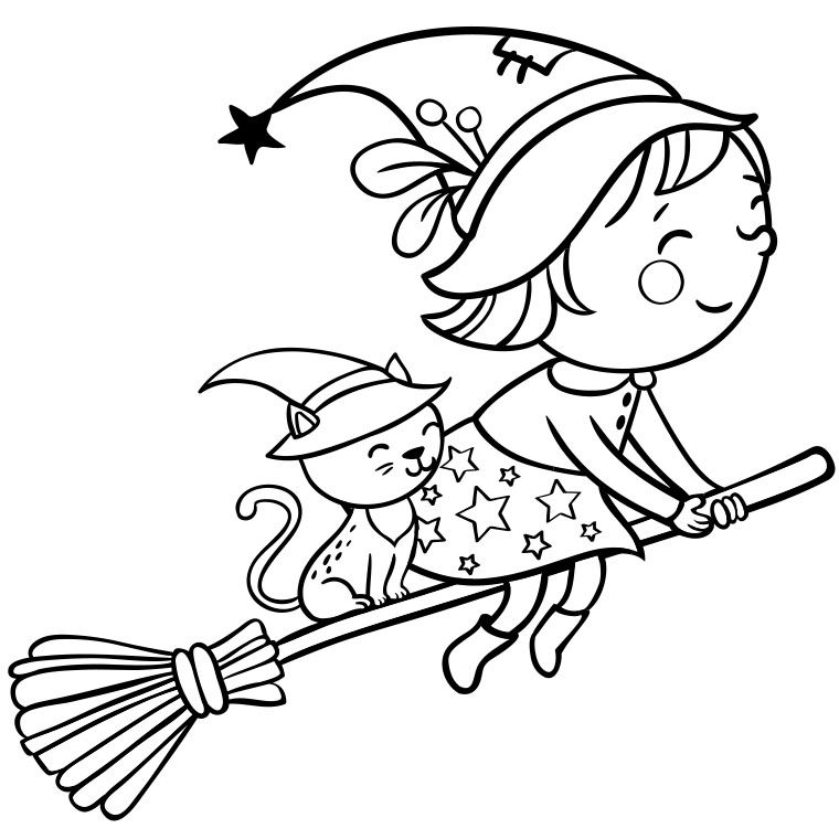 Coloriage sorciere sur son balai kids clipart pinterest halloween coloring witches and - Sorciere dessin ...