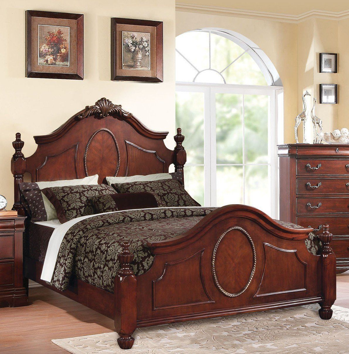 acme estrella california king bed dark cherry 21724ck california