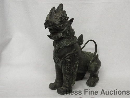 Old Verdigris Bronze Foo Dog Lion Shi Chinese Japanese Asian Statue 13 inches High