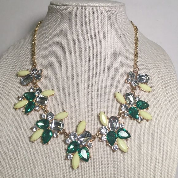 Statement necklace Opaque yellow with green and clear crystals on gold tone. 20 inches Jewelry Necklaces