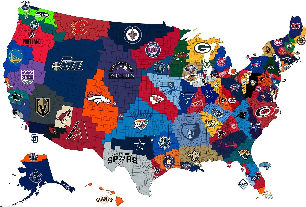 Map Of Us States Bordering Mexico%0A Maps on the Web  u     The Closest Big   Pro Sports Team to Each US