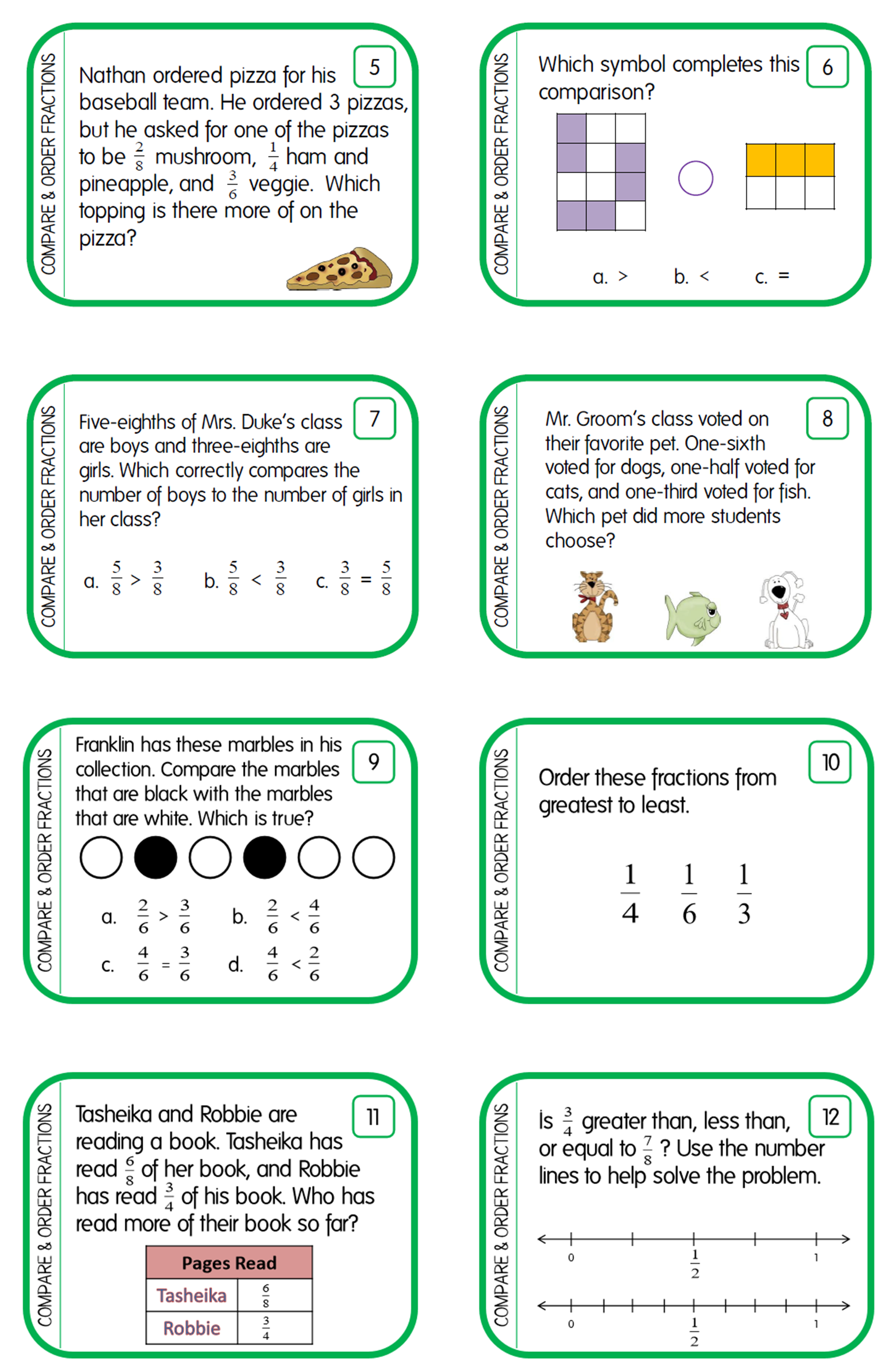 Comparing Fractions Ordering Fractions