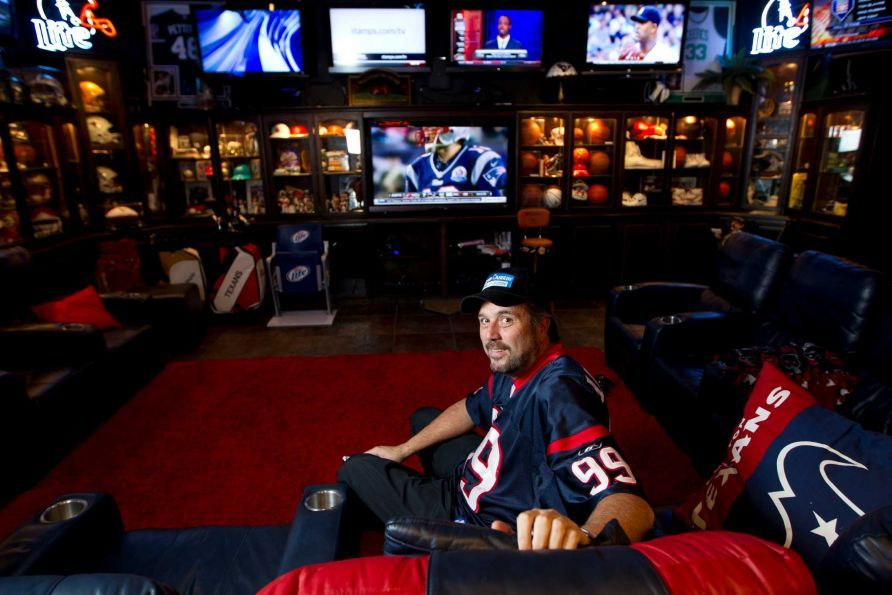 Sports Man Cave Deer Park man has the best man cave ever