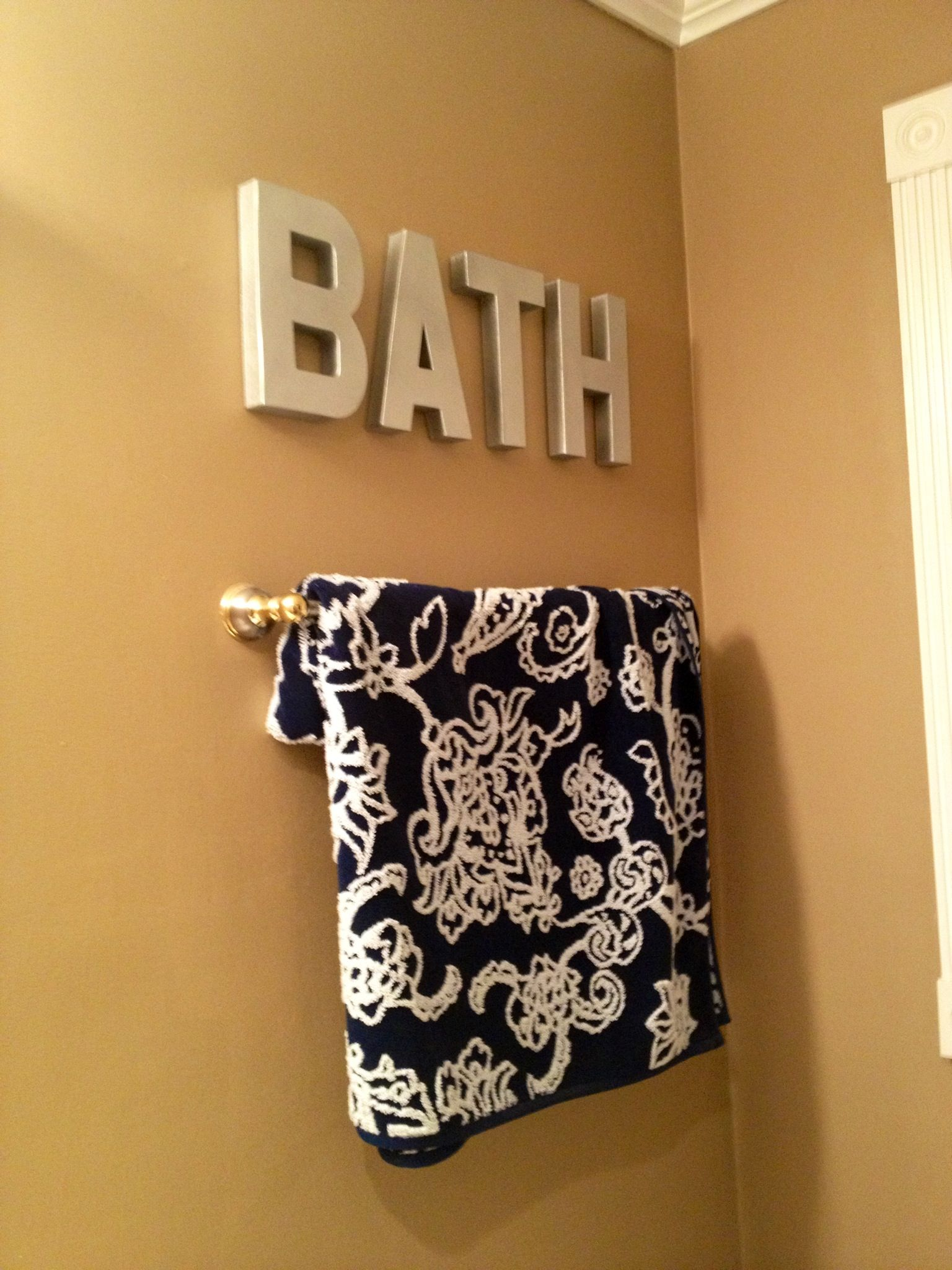 BATH cardboard letters from Hobby Lobby painted black & then