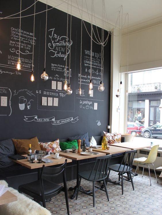Modern And Cheerful Coffee Decor With A Chalkboard Wall Hanging Bulbs