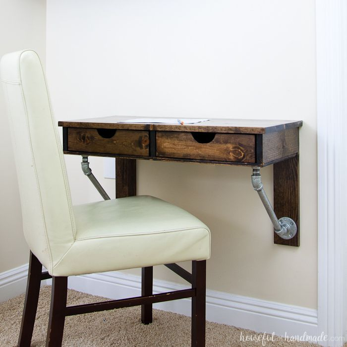 easy rustic industrial wall mounted desk build plans real diy rh pinterest com