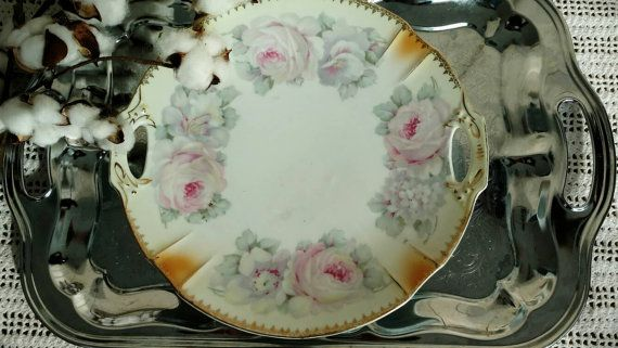 Antique Rose China Plate Made in Germany - Fine China Rose Transferware Platter Cottage Chic + Shabby Chic Wall Art Wedding Rose Decor & Antique Rose China Plate Made in Germany - Fine China Rose ...