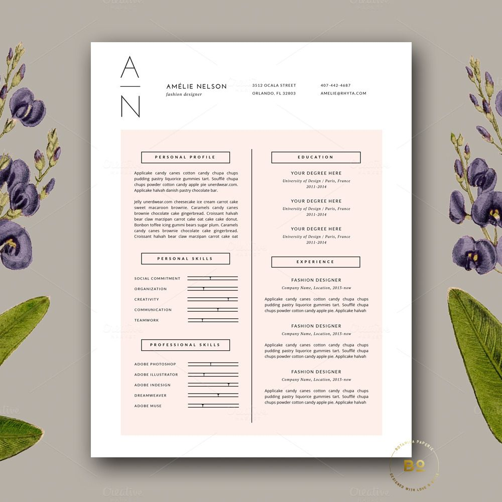 Resume  Cover Letter Template Docx By Botanica Paperie On