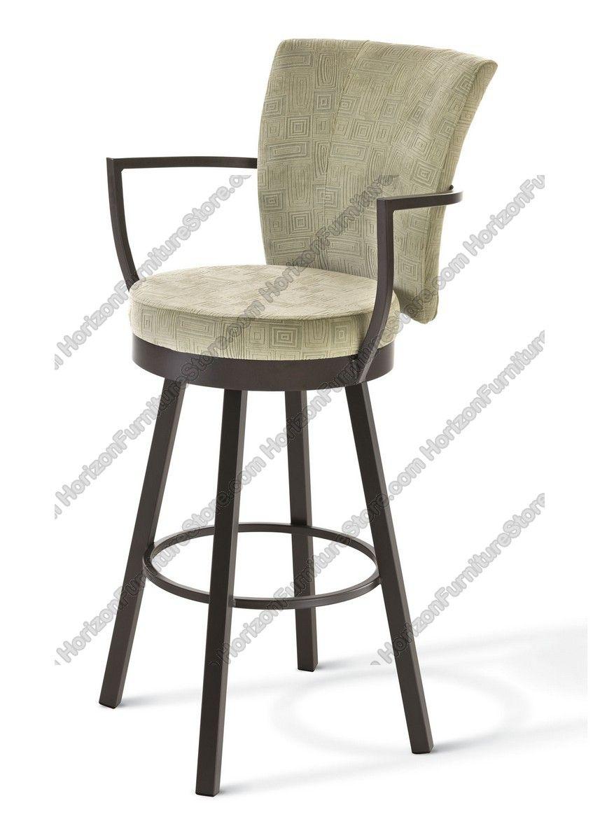 Amisco Cardin Upholstered Back Swivel Stool With Arms 41430 Swivel Bar Stools Swivel Stool Bar Stools