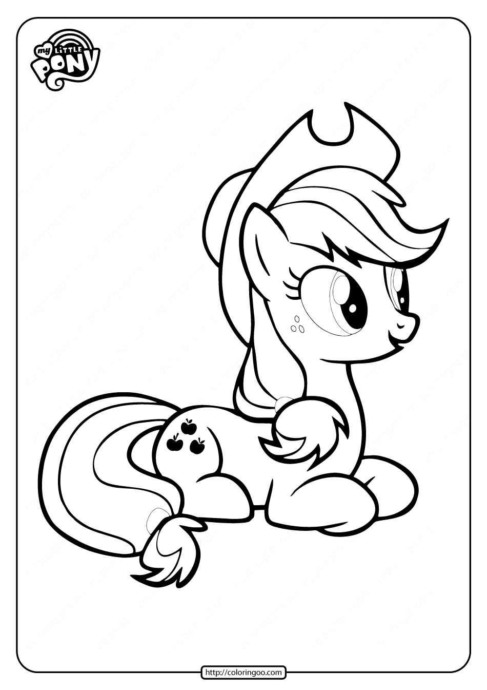 Mlp Applejack Coloring Pages In 2020 Coloring Pages Applejack My Little Pony