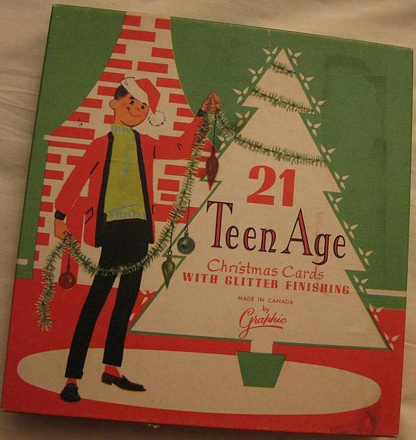 Teen Age Christmas Cards -- groovy! Hey Now!! I never knew teenagers could have…