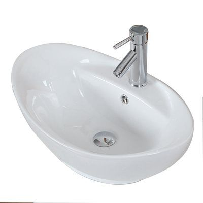 American Imagination AI-157 Above Counter Oval White Ceramic Vessel - Vessel Sinks Bathroom
