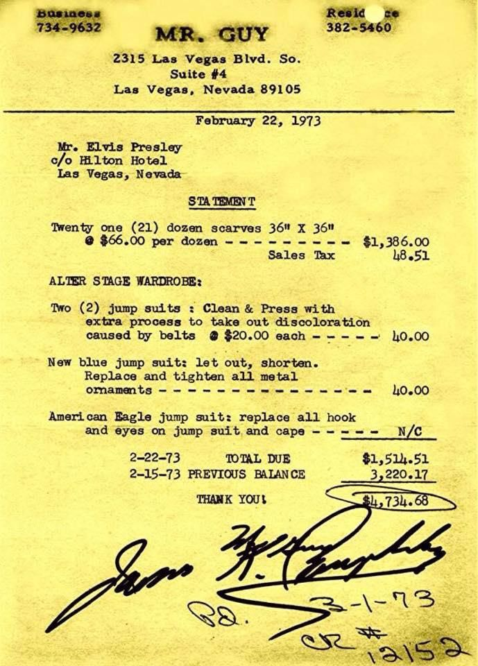 Scarf invoice 2-22-73 Elvis Presley for Jean Pinterest Elvis