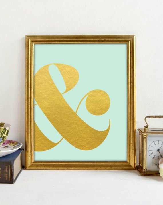 Ampersand Gold Print, Mint Gold Print, Girls Bedroom, Gold Lettering ...