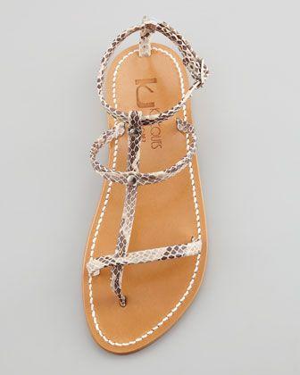 K. Jacques Gina Snakeskin Gladiator Thong Sandal - Neiman Marcus