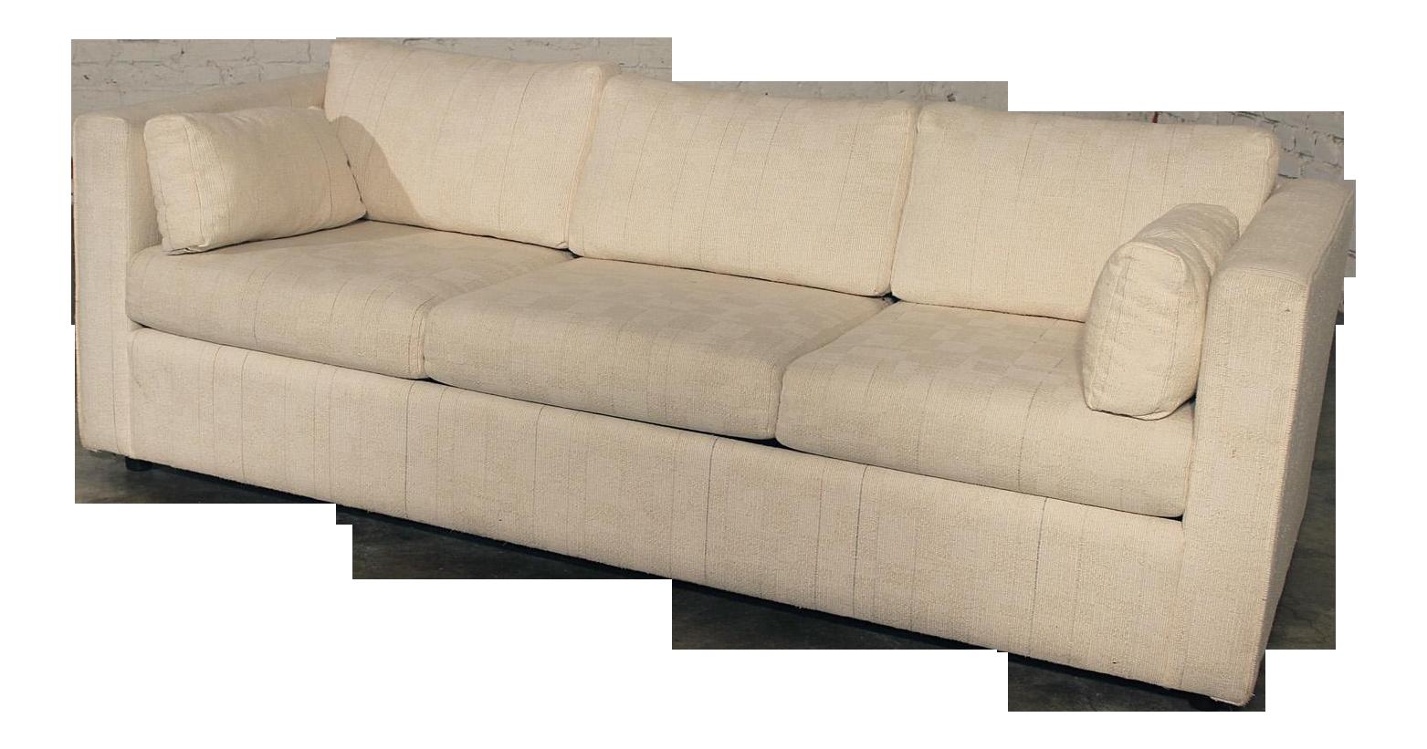 MidCentury White Tuxedo Style Sleeper Sofa on Chairish