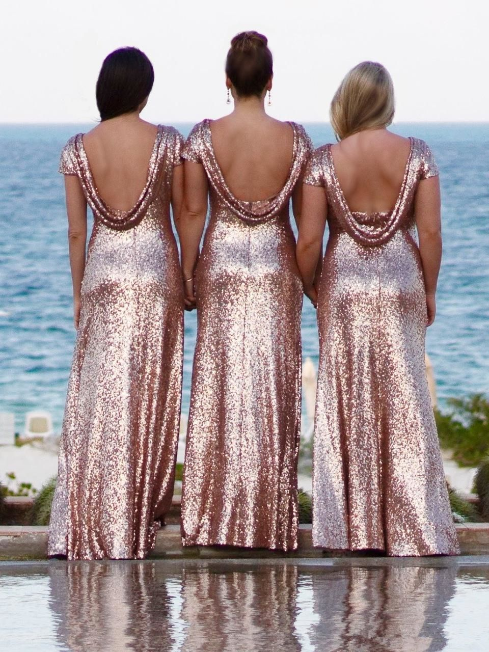 Cap Sleeves Long Rose Gold Sequin Bridesmaid Dress With Open Back