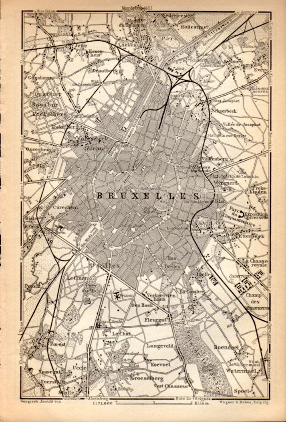1897 Brussels Belgium Antique Map Vintage By Craftissimo On Etsy