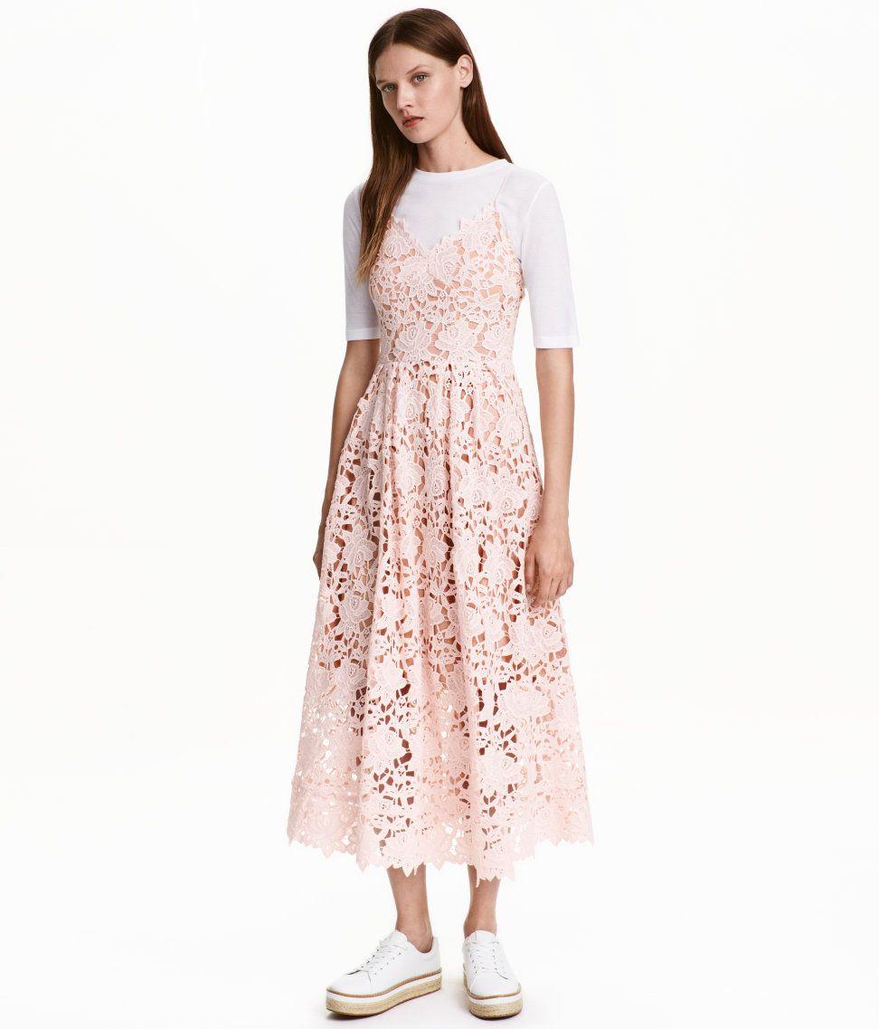 Hm kleid rosa spitze