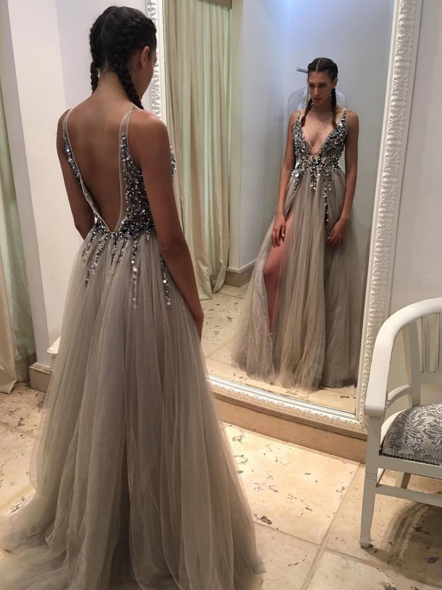 fea014c4a4599 Sexy Deep V Neck Grey Tulle Long Prom Dress with Slit | Prom | Split ...