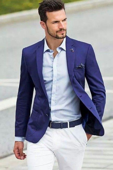 ffa2c44ef Resultado de imagen de americana sin corbata | Trajes | Moda hombre, Moda y  Pantalón blanco hombres