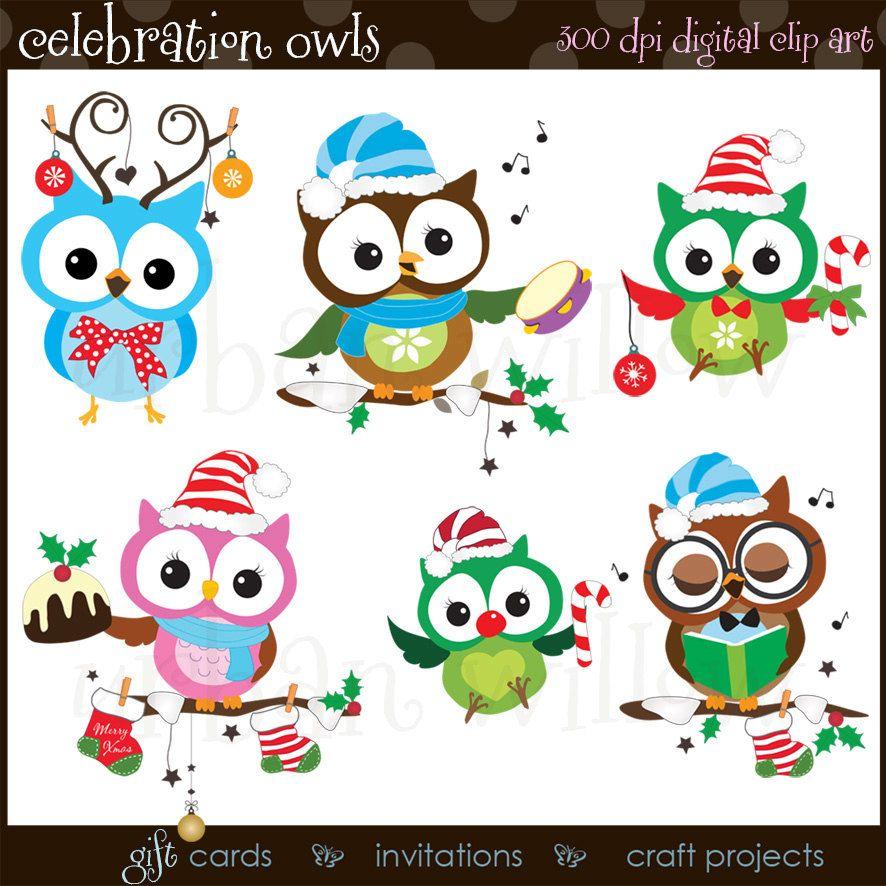 Mignon Clipart Hiboux Drole Noel Clipart Clipart Hiboux Etsy Clip Art Christmas Owls Christmas Clipart