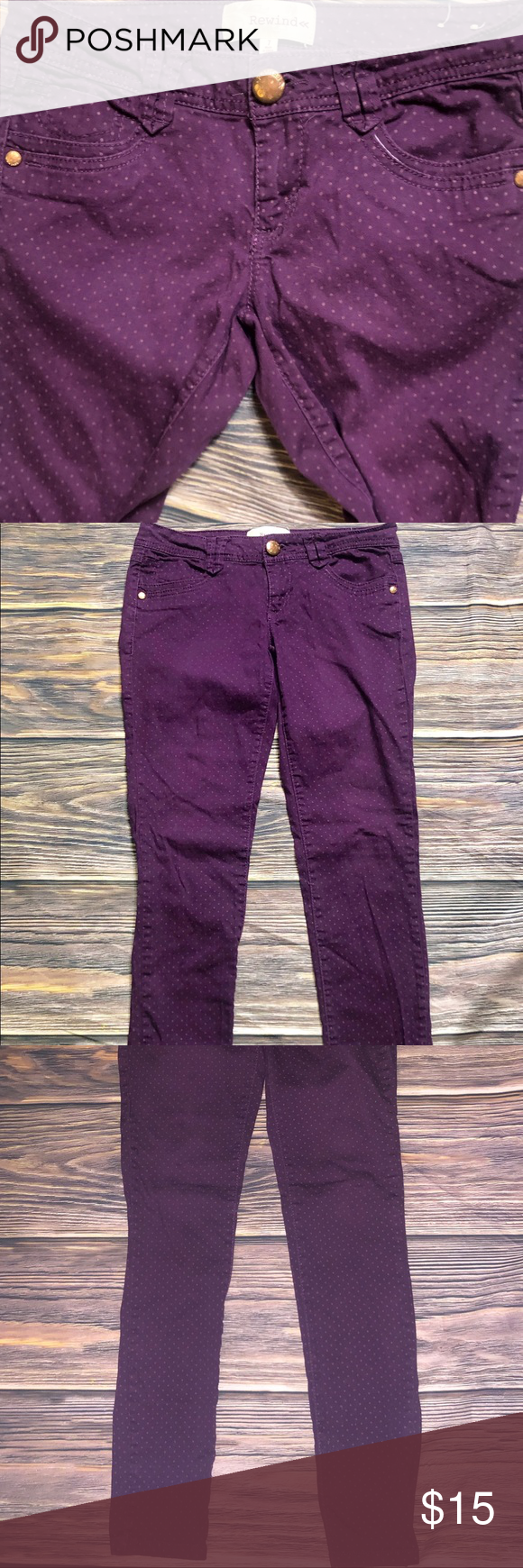 "Rewind"" Purple skinny jeans with dots SZ 7 Rewind Purple"
