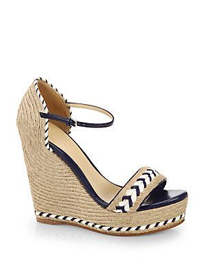 b3b91452840 Gucci Tiffany Espadrille Wedge Sandals - Blue - Beige - Size 3 ...