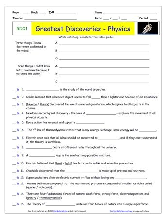 Free Student Worksheets For Greatest Discoveries With Bill Nye