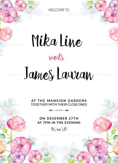 Watercolor Floral Wedding Invitation Template Wedding Invitation
