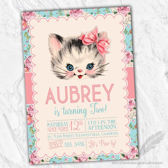 vintage kitten birthday party invitations kitty cat floral