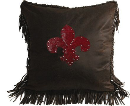 Cheyenne Faux Tooled Fleur De Lis Throw Pillow