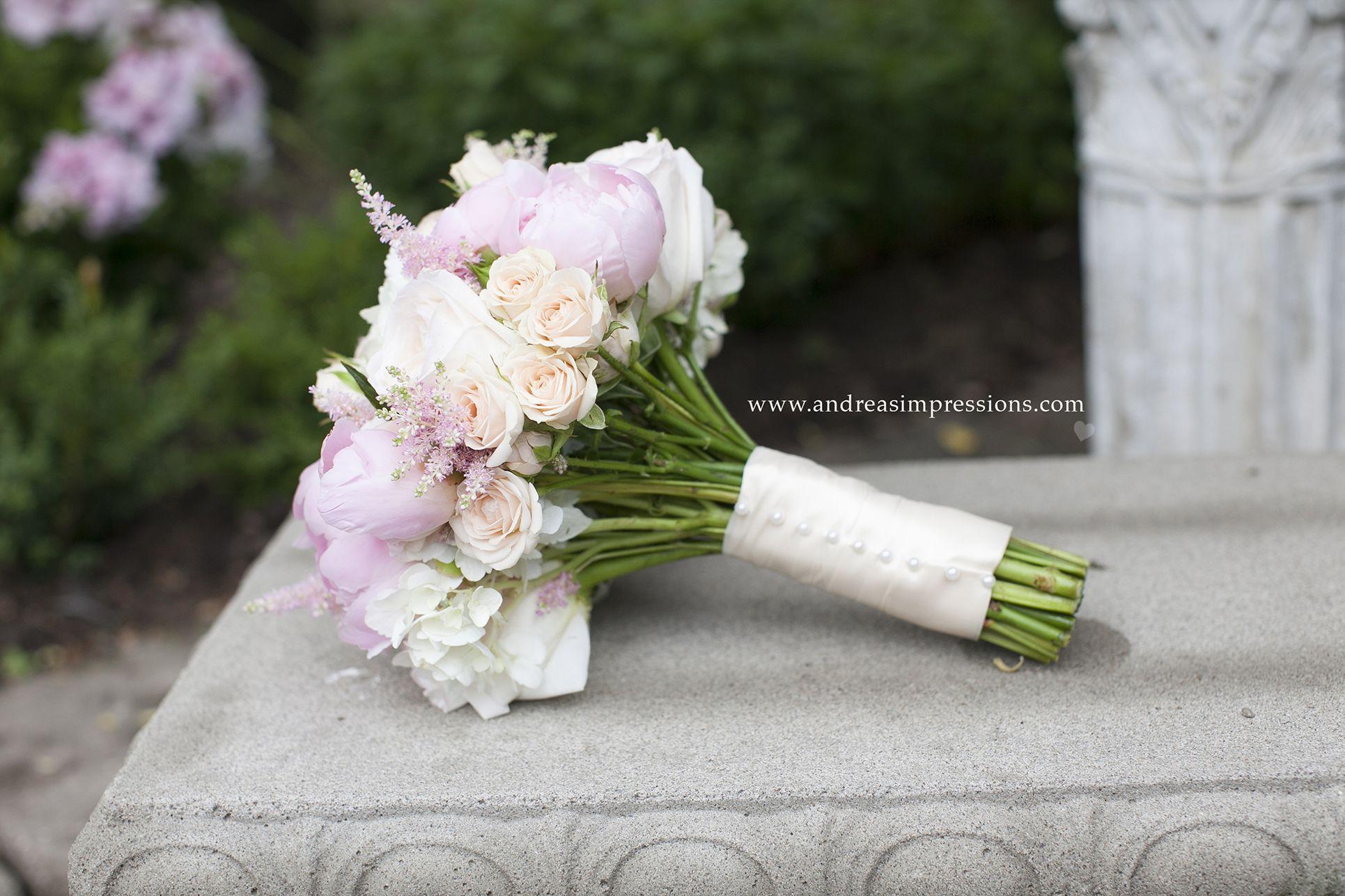 Blush Bridal Bouquet Blush Garden Roses And Astilbe