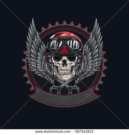Vintage Biker Skull with helmet,  Wings and Pistons