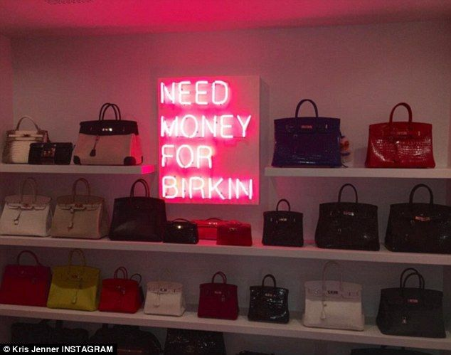 Kris Jenner Showed Off A Bright Neon Sign Installed In Her Newly Remodeled Hermes Handbag Closet On Friday