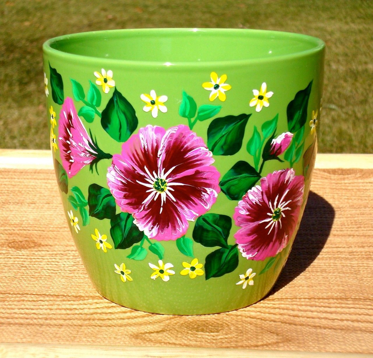 Green Flower Pot With Bright Flowers By Paint It Pretty