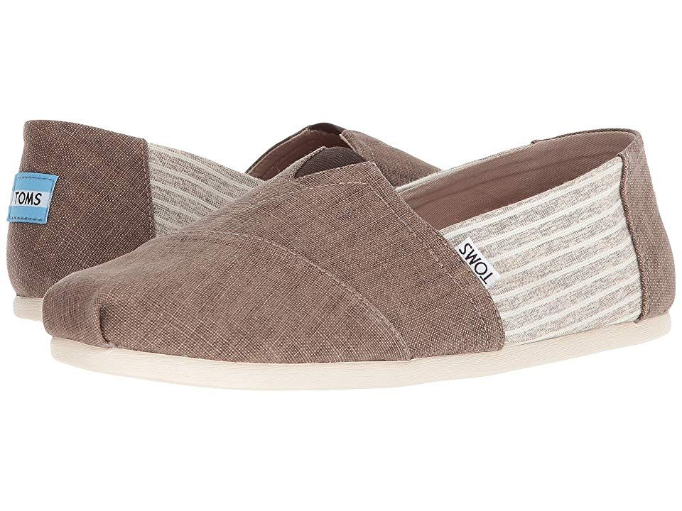 TOMS Seasonal Classics Toffee Coated LinenStripe Mens Slip on Shoes With every pair of shoes you purchase TOMS will give a new pair of shoes to a child in need One for On...