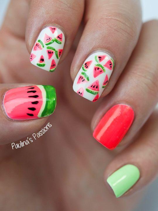 26 Trend Summer Fruit Nail Art Ideas Easy To Copy Fruit Nail Designs Watermelon Nails Fruit Nail Art