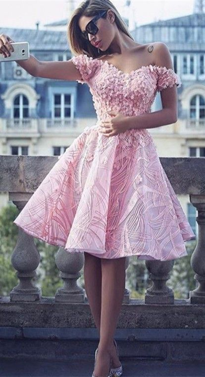 1825dc6d6 A-Line Off the Shoulder Pink Satin Short Prom Dress with Appliques ...