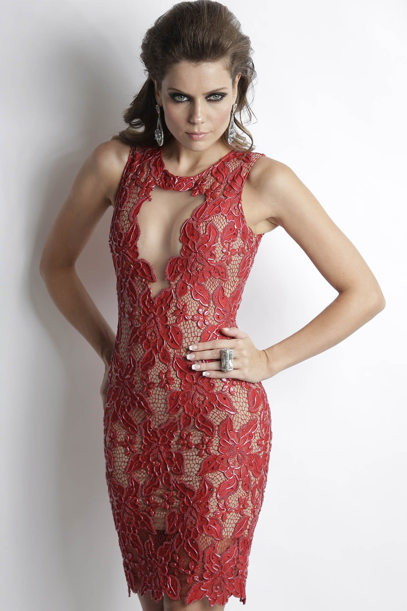 Adriana red painted baccio couture dress dresses