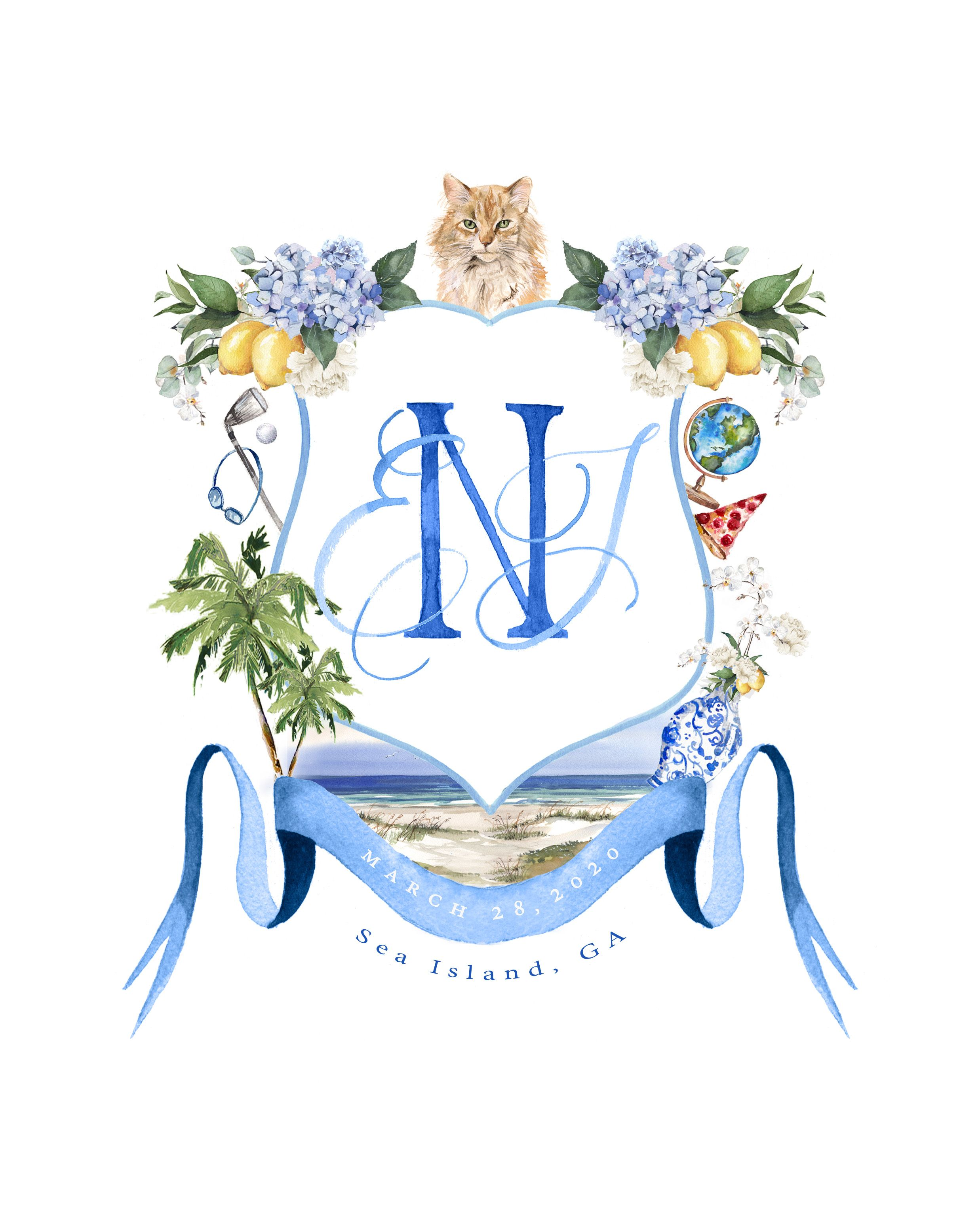Custom Watercolor Wedding Crest In 2020 Watercolor Wedding