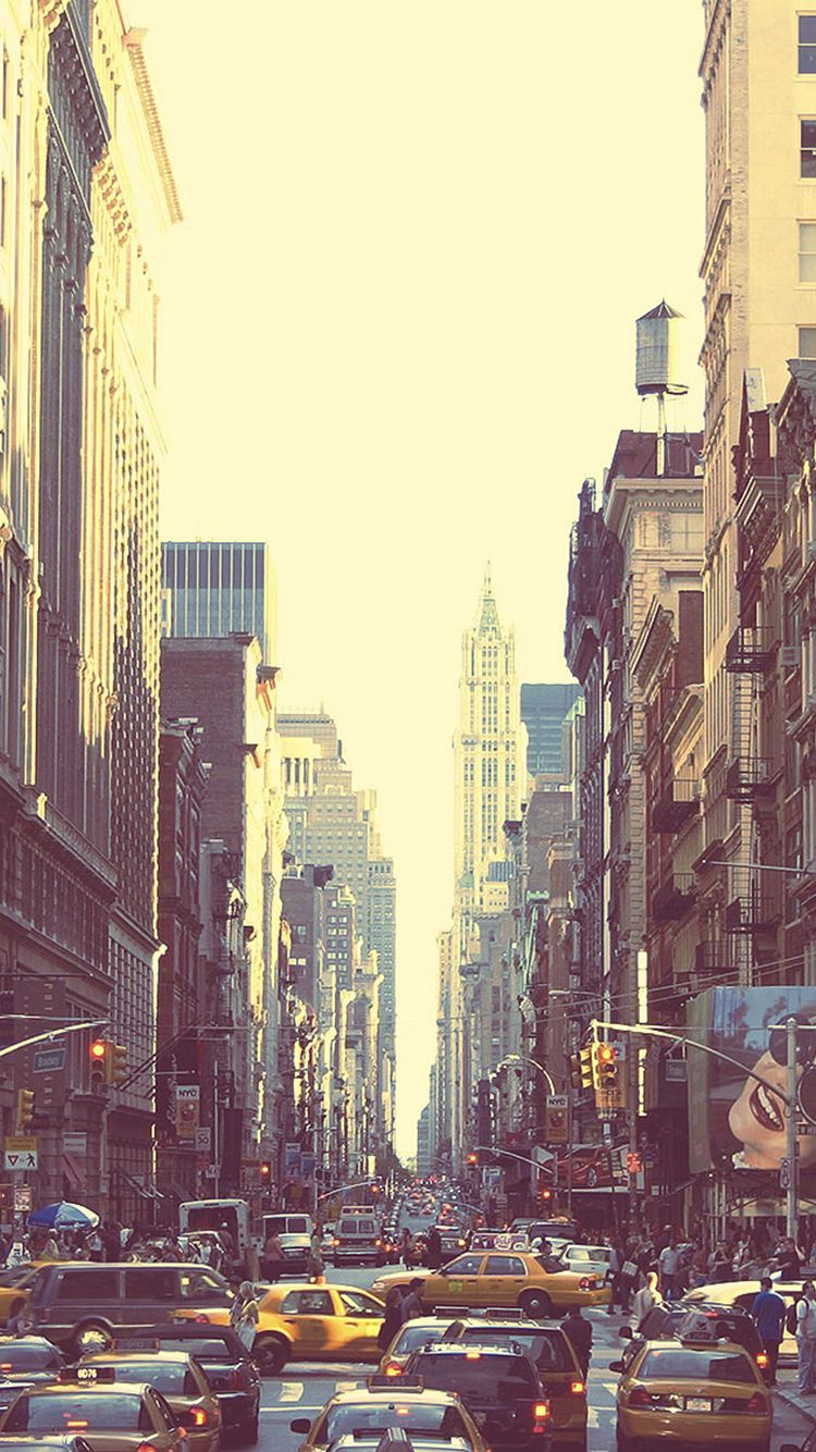New York Busy Street Sunset Iphone 6 Wallpaper City Wallpaper New York City Manhattan New York Street